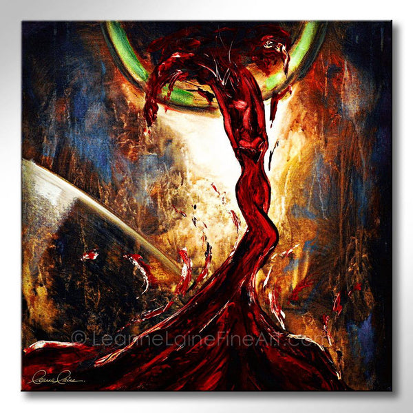 Leanne Laine Fine Art original artist painting of sexy woman in red wine pouring from bottle to glass