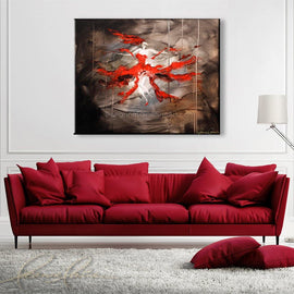 Leanne Laine Fine Art original artist painting displayed above couch of woman in red dress and heels dancing