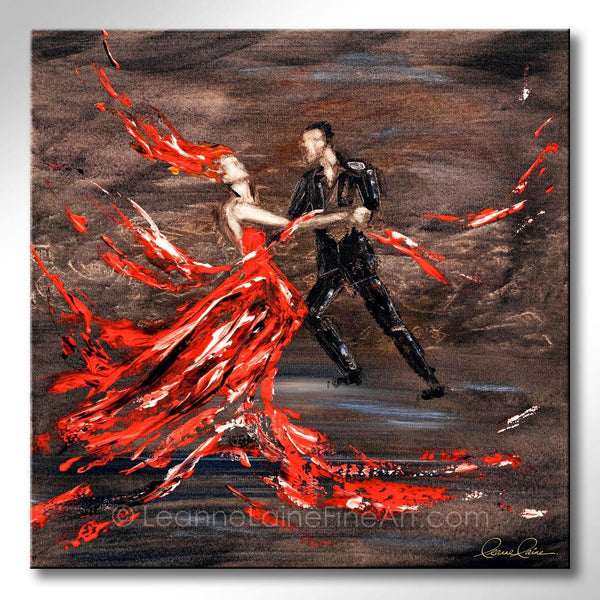 Leanne Laine Fine Art original artist painting of romantic man and woman in red dress and suit dancing on floor