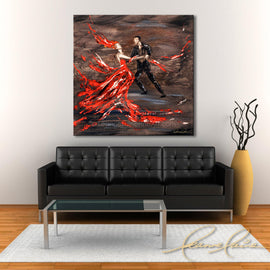 Leanne Laine Fine Art original artist painting displayed above couch of romantic man and woman in red dress and suit dancing on floor