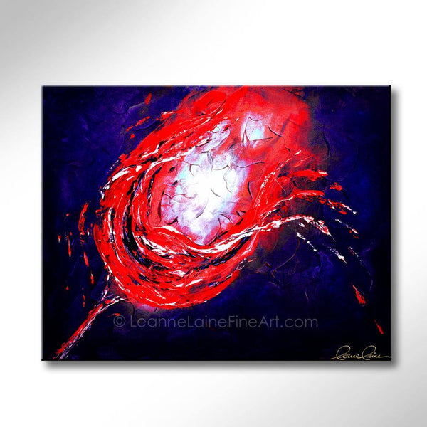 Leanne Laine Fine Art original artist painting of glowing splashing and pouring red wine in glass breaking