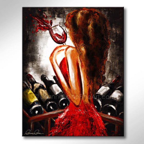 Leanne Laine Fine Art painting of sexy brunette woman in red dress at wine rack holding a glass of red wine