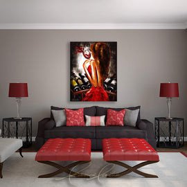 Leanne Laine Fine Art painting displayed above couch of sexy brunette woman in red dress at wine rack holding a glass of red wine