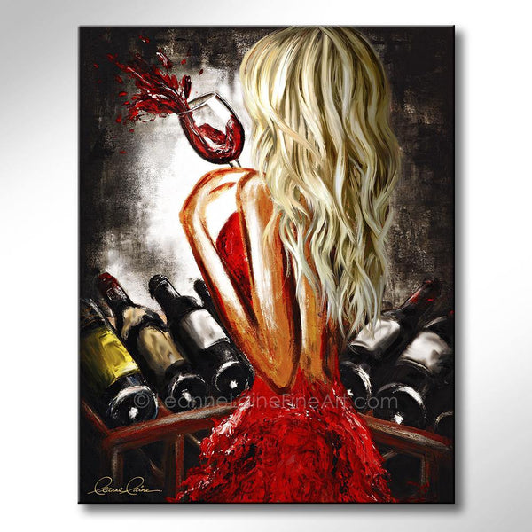Leanne Laine Fine Art painting of sexy blonde woman in red dress at wine rack holding a glass of red wine
