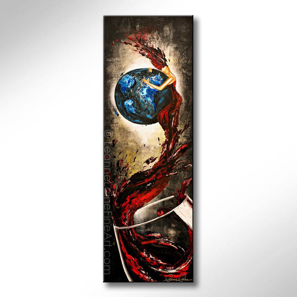 Leanne Laine Fine Art original artist painting of red woman in wine splashing out of glass hugging earth world planet