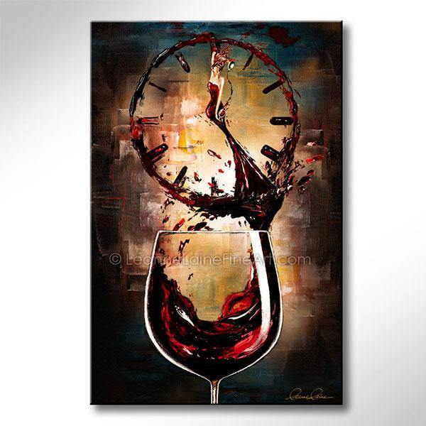 Leanne Laine Fine Art original artist painting of beautiful woman in wine o'clock red glass pouring and splashing into clock