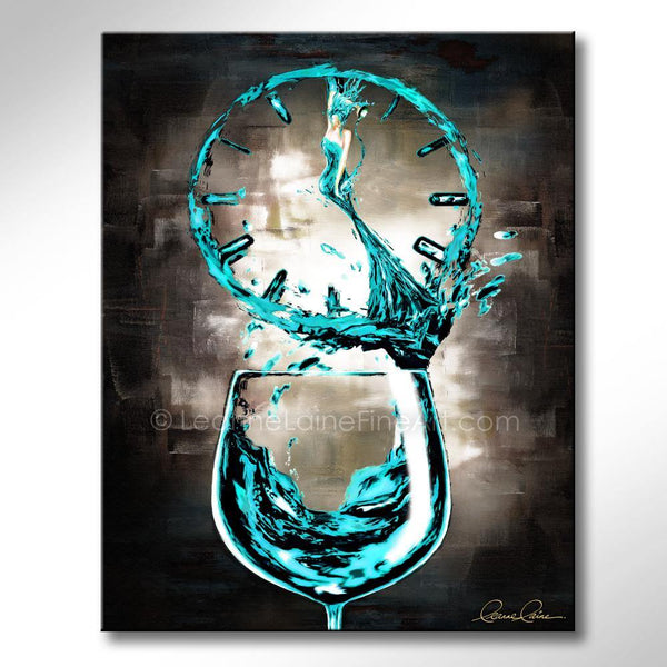Leanne Laine Fine Art original artist painting of beautiful woman in wine o'clock teal glass pouring and splashing into clock