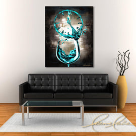 Leanne Laine Fine Art original artist painting displayed above couch of beautiful woman in wine o'clock teal glass pouring and splashing into clock
