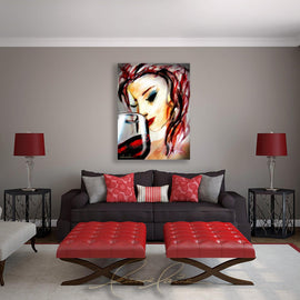 Leanne Laine Fine Art original artist painting displayed above couch of red hair woman with lipstick sipping wine from glass