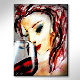 Leanne Laine Fine Art original artist painting of red hair woman with lipstick sipping wine from glass