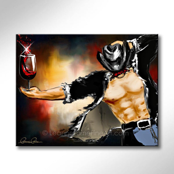 Leanne Laine Fine Art original artist painting of sexy cowboy with moustache for movember holding red wine in glass