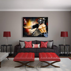 Leanne Laine Fine Art original artist painting displayed above couch of sexy cowboy with moustache for movember holding red wine in glass