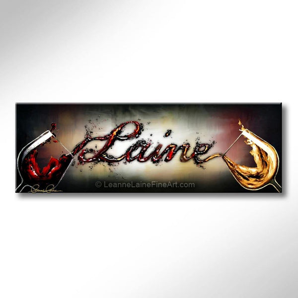 Leanne Laine Fine Art painting of white and red wine pouring customized personalized written name between two wine glasses