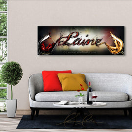 Leanne Laine Fine Art painting displayed above couch of white and red wine pouring customized personalized written name between two wine glasses