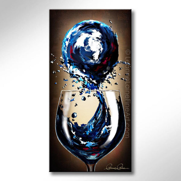 Leanne Laine Fine Art original artist painting of vibrant blue wine splashing from glass into planet earth