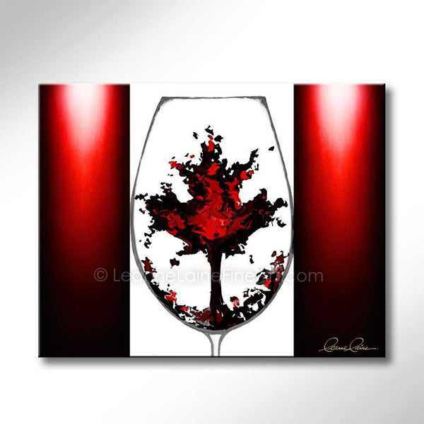Leanne Laine Fine Art original artist painting of Canada flag with Canadian maple leaf inside red wine glass