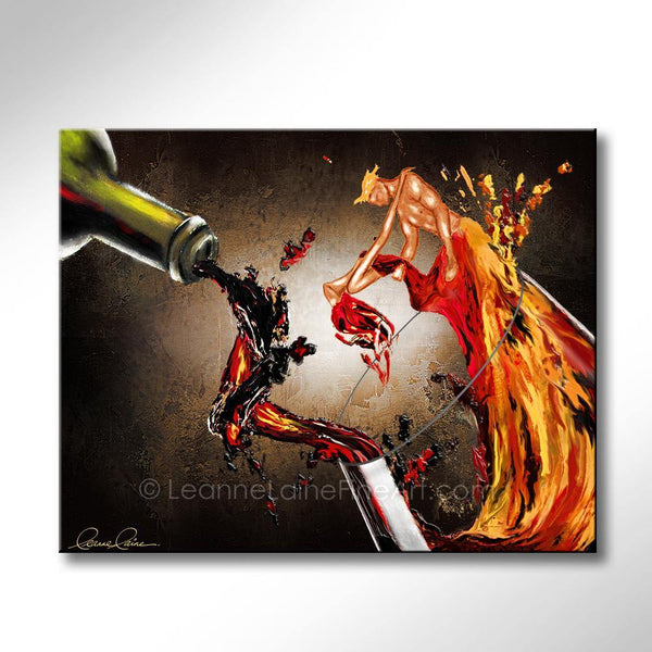 Leanne Laine Fine Art original artist painting of sexy romantic man and woman dancing red and white wine splashing from bottle into glass