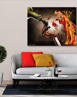 Leanne Laine Fine Art original artist painting displayed above couch of sexy romantic man and woman dancing red and white wine splashing from bottle into glass