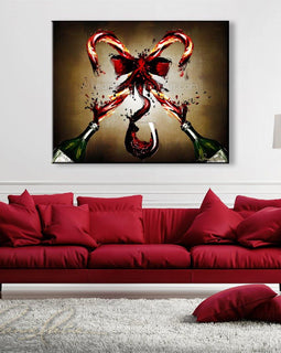 Leanne Laine Fine Art original artist painting displayed above couch of two holiday Christmas candy canes splashing from two bottles pouring red wine