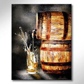 Leanne Laine Fine Art painting of glass of splashing beer poured out of barrel tapped cask