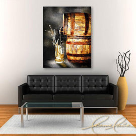 Leanne Laine Fine Art painting displayed above couch of glass of splashing beer poured out of barrel tapped cask