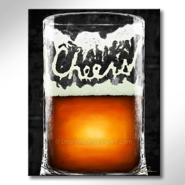 Leanne Laine Fine Art original artist painting of large beer glass mug spelling cheers in foam