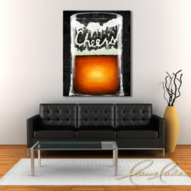 Leanne Laine Fine Art original artist painting displayed above couch of large beer glass mug spelling cheers in foam