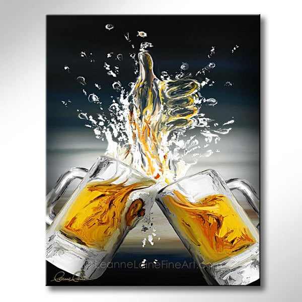 Leanne Laine Fine Art original artist painting of two beer mugs splashing ale into a thumbs up like