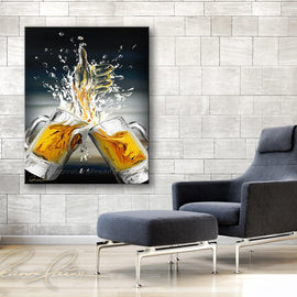 Leanne Laine Fine Art original artist painting displayed above blue chair of two beer mugs splashing ale into a thumbs up like