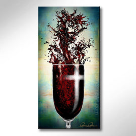 Leanne Laine Fine Art original artist painting of Jesus splashing in red wine with cross on glass showing religious Easter resurrection