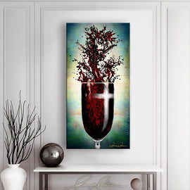 Leanne Laine Fine Art original artist painting displayed above table of Jesus splashing in red wine with cross on glass showing religious Easter resurrection