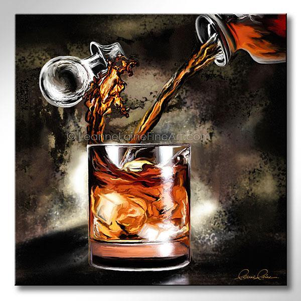 Leanne Laine Fine Art painting of bourbon whiskey pouring from decanter into whisky glass