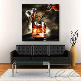 Leanne Laine Fine Art painting displayed above couch of bourbon whiskey pouring from decanter into whisky glass