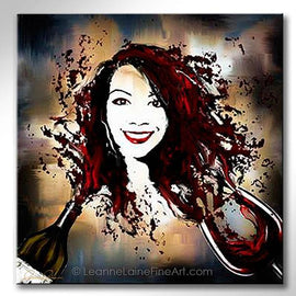 Leanne Laine Fine Art original artist painting of your face in red splashing wine from bottle to glass