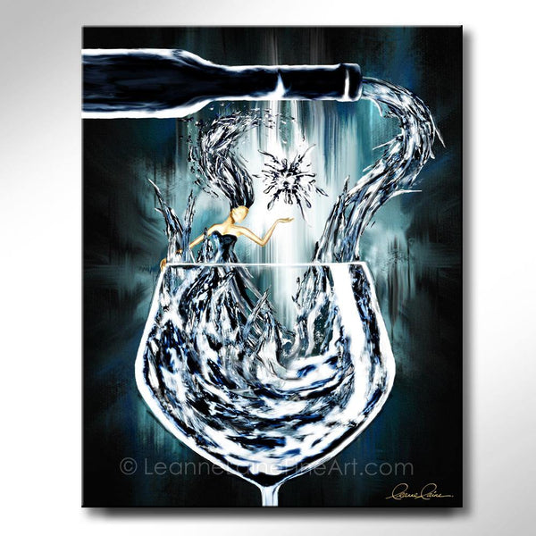 Leanne Laine Fine Art original artist painting of frozen bottle and glass with Elsa like woman in wine splashing