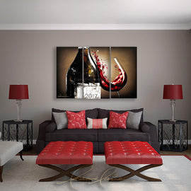 Leanne Laine Fine Art original artist painting displayed above couch  of wine bottle with customized year label