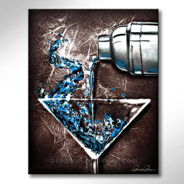 Leanne Laine Fine Art painting of blue martini glass pouring gin vodka cocktail from shaker