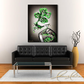 Leanne Laine Fine Art original artist painting displayed above couch of St. Patricks Day green four leaf clover splashing and pouring out of irish for wine glass