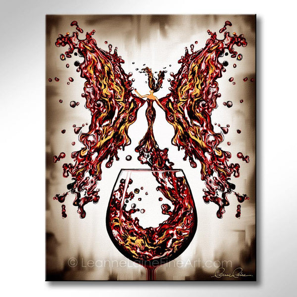 Leanne Laine Fine Art painting of red gold yellow beautiful woman butterfly wings splashing out of wine glass