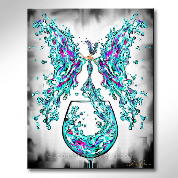 Leanne Laine Fine Art painting of teal turquoise purple beautiful woman butterfly wings splashing out of wine glass