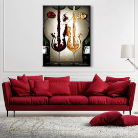 Leanne Laine Fine Art original artist painting dispalyed above couch of two bottles with flowers beside woman in wine pouring red and white into glasses