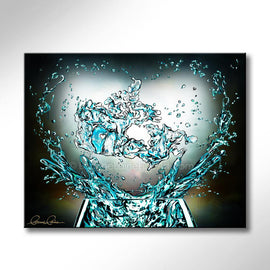 Leanne Laine Fine Art original artist painting of canada country glass splashing water teal turquoise with helping hands and heart