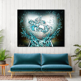 Leanne Laine Fine Art original artist painting displayed above couch of canada country glass splashing water teal turquoise with helping hands and heart