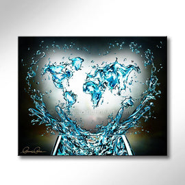 Leanne Laine Fine Art original artist painting of global world countries glass splashing water teal turquoise with helping hands and heart