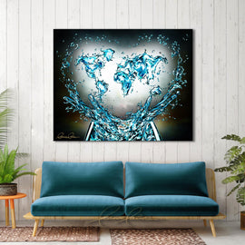 Leanne Laine Fine Art original artist painting displayed above couch of global world countries glass splashing water teal turquoise with helping hands and heart