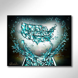 Leanne Laine Fine Art original artist paintingof United States country glass splashing water teal turquoise with helping hands and heart