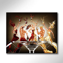 Leanne Laine Fine Art original artist painting of friends sexy men and woman splashing out of glasses drinking red and white wine around stem table