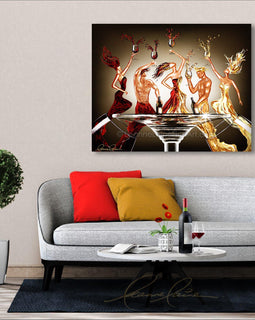 Leanne Laine Fine Art original artist painting displayed above couch  of friends sexy men and woman splashing out of glasses drinking red and white wine around stem table