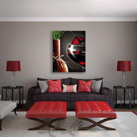 Leanne Laine Fine Art painting displayed above couch of red wine glass and vase with red rose petals and poppy with cross for Veterans and Remembrance Day