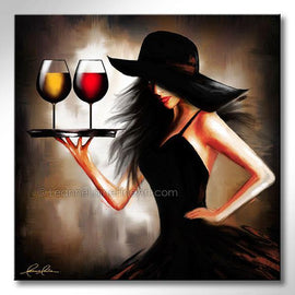 Leanne Laine Fine Art original artist painting of brunette sexy woman in black hat carrying tray of red and white wine